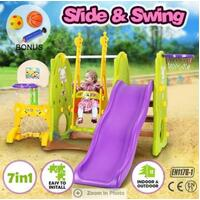 Colorful 7-in-1 Playset with Swing & Slide Toys Giraffe Style