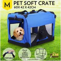 M Portable Pet Dog Soft Folding Cage Kennel Crate Travel Carrier Waterproof Blue