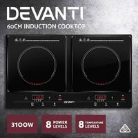 Devanti Induction Cooktop 60cm Electric Cook Top Kitchen Hob Ceramic Black Glass