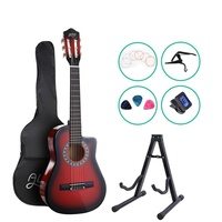 "Alpha 34"" Inch Guitar Classical Acoustic Cutaway Wooden Ideal Kids Gift Children 1/2 Size Red w/ Capo Tuner"