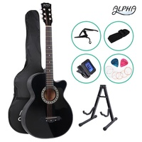"Alpha 38"" Inch Acoustic Guitar Classical Wooden Folk Cutaway Steel String Bag-black"
