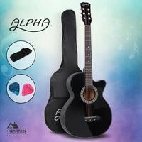 "Alpha 38"" Inch Full-Size Acoustic Guitar Wooden Folk Classical Cutaway Steel"